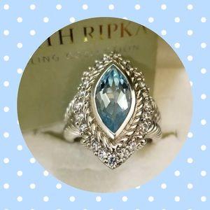 JUDITH RIPKA BLUE TOPAZ MARQUISE➕DIAMONIQUE RING